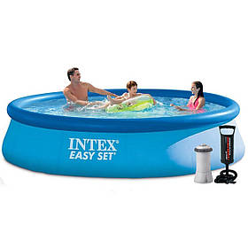 Надувний басейн Intex 28143 - 4, 396 х 84 см (3 785 л/год, підстилка, тент, насос)