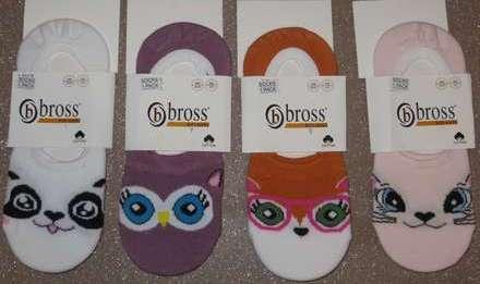 Набор 4 шт. Детские невидимые носки - следки Bross с рисунком