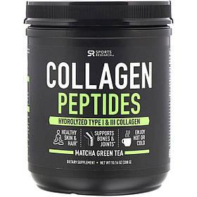 Пептиды коллагена, гидролизованный коллаген типов I и III, зеленый чай матча, 288 г Sports Research