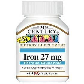 Железо, 27 мг, 110 таблеток 21st Century