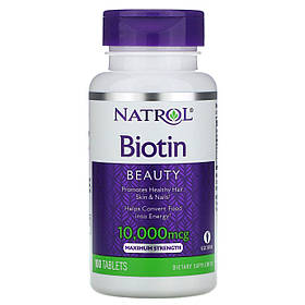 Биотин, максимальное действие, 10 000 мкг, 100 таблеток, Natrol