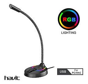 Мікрофон настільний провідний HAVIT HV-GK55 RGB (7 кольорів) Black