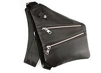 Мужская кожаная кобура-сумка серая наплечная через плечо плечевая однолямочная сумка мессенджер