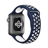 Силиконовый синий с белым ремешок браслет Sport Band для умных смарт часов Apple Watch 42/44