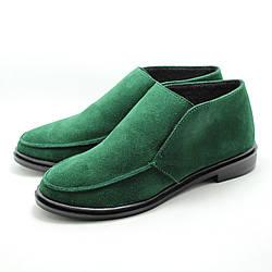 Демисезонные замшевые женские туфли лоферы LuxuryShoes зеленые