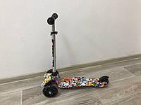 Самокат Scooter Mini трёхколёсный детский со светящимися колесами и с принтом графити