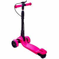 Детский складной самокат Maraton Hunter трехколесный со светящимися колесами и ручным тормозом розовый