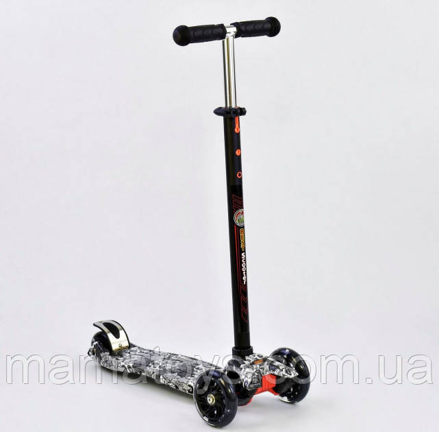 Дитячий Самокат Best Scooter А 25465 /779-1320 Чорний, колеса PU, світяться