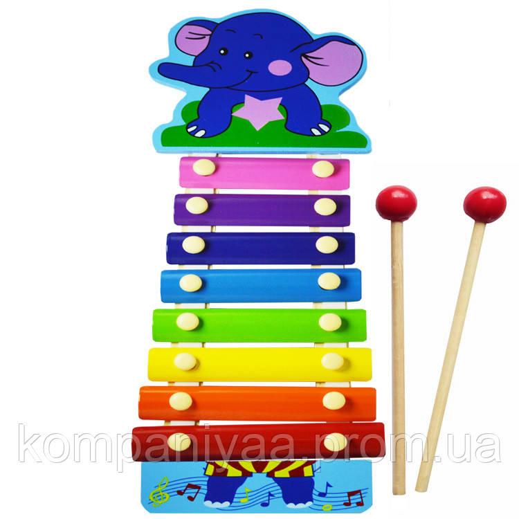 Дитяча музична дерев'яна іграшка Ксилофон MD0712 (Слоненя Блакитне)