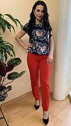Костюм женский летний красные брюки и блуза