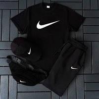 Костюм мужской летний Nike Комплект футболка+шорты+кепка+барсетка Реплика Чёрный/бел/серы (Размер S)