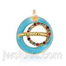 Очень красивый Кулон Позолота + голубая Эмаль