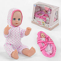 Пупс с люлькой-переноской и аксессуарами Warm Baby 33 см функциональный кукла для девочки Розовый (9602)