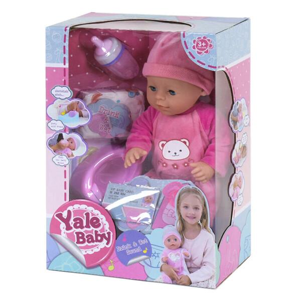 Пупс інтерактивний для дівчинки функціональний з аксесуарами Yale Baby No9001C 42 см (44242)