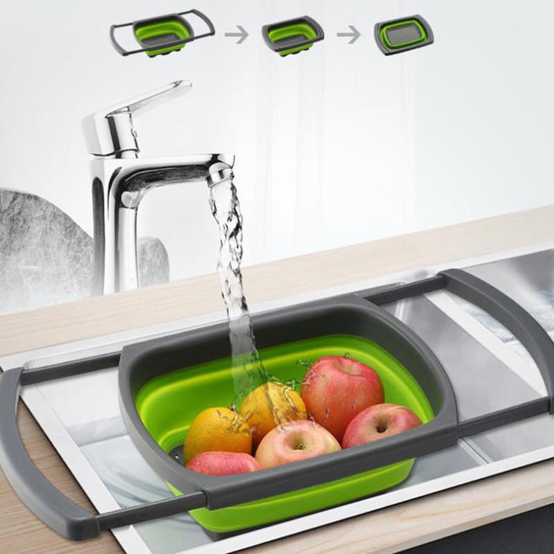 Складной дуршлаг Benson BN-091   силиконовый друшлаг для мытья овощей и фруктов Бенсон   друшлак Бэнсон