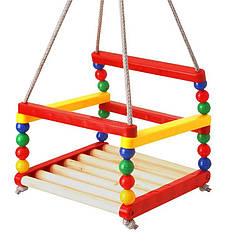 Дитяча гойдалка 0045 Технок дерево+пластик | гойдалка для дитини | дерев'яна гойдалка підвісна