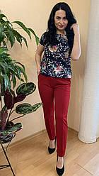 Костюм класический женский лето бордовые брюки и блуза