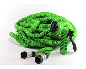 Шланг садовый поливочный X-hose 75 метров зеленый | растягивающийся шланг для полива Икз Хоз + насадка