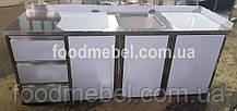 Стол тумба 2300х700х900 с мойкой и ящиками из нержавейки с местом под холодильник