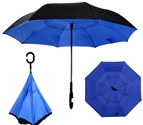 Вітрозахисний парасолька Up-Brella | антизонт | парасольку зворотного складання | парасольку навпаки Синій