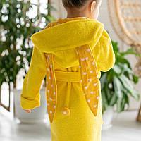 Халат детский банный на девочку желтого цвета с капюшоном из премиум махры 100% хлопок. Тапочки в подарок