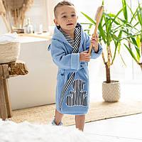 Детский халат на мальчика с капюшоном и поясом голубого цвета натуральная махра с ушками. Тапочки в подарок