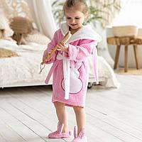 Детский розовый халат с капюшоном на девочку натуральная махра Зайчик с ушками на запах с поясом