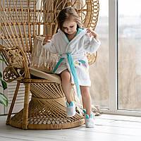 Махровый домашний детский халат для девочки с аппликацией, капюшоном и ушками. 100% хлопок Тапочки в подарок