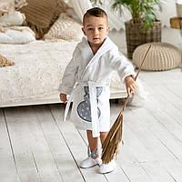 Махровый домашний детский халат с аппликацией Зайка и капюшоном с ушками. Тапочки в подарок
