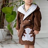 Махровый банный натуральный детский халат для мальчика коричневый Мишка с ушками. Тапочки в подарок