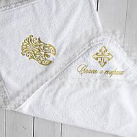 Детская крыжма белая для крещения с вышивкой. Махровое полотенце уголок для купания новорождённых