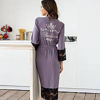 """Летний женский шелковый халат с индивидуальной вышивкой на запах с поясом и кружевом """"Любимая мама"""" с короной"""