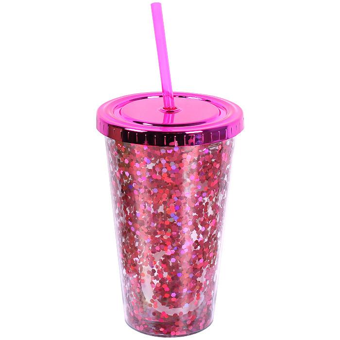 """Стакан поликарбонатный охлаждающий с трубочкой """"Блестки"""" Benson BN-285 розовый   стакан с блетсками Бенсон"""
