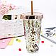 """Стакан поликарбонатный охлаждающий с трубочкой """"Блестки"""" Benson BN-285 розовый   стакан с блетсками Бенсон, фото 6"""