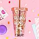 """Стакан поликарбонатный охлаждающий с трубочкой """"Блестки"""" Benson BN-285 розовый   стакан с блетсками Бенсон, фото 7"""