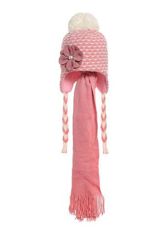 Детская вязаная шапочка, утепленная флисом, с  шарфиком, фото 2