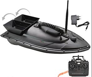 Прикормочный кораблик для рыбалки с пультом  на 2 бункера   Лодка катер для прикормки рыбы на радиоуправлении
