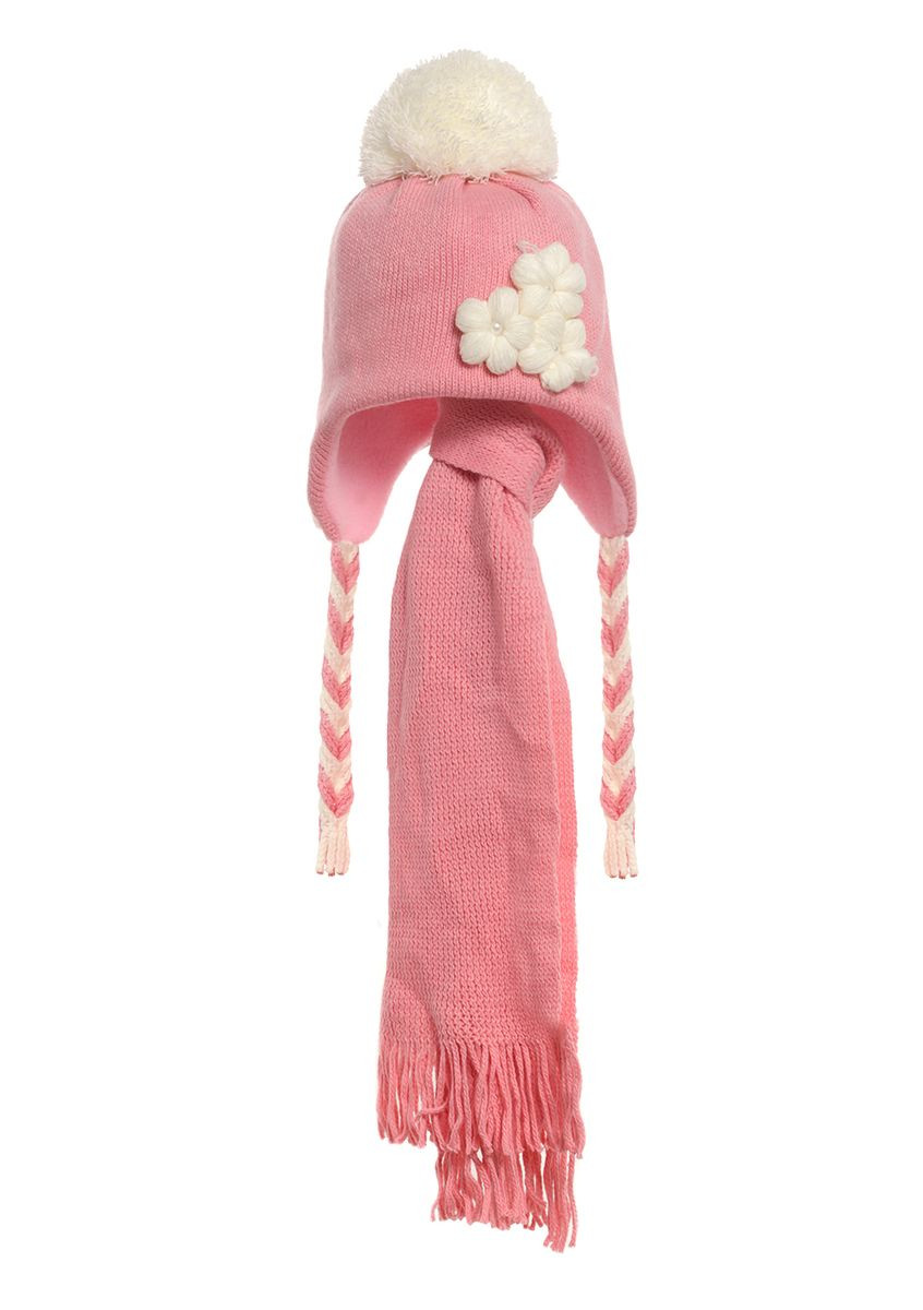Детская зимняя утепленная вязаная шапочка с  шарфиком, персикового цвета.