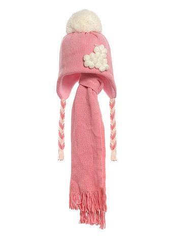 Детская зимняя утепленная вязаная шапочка с  шарфиком, персикового цвета., фото 2