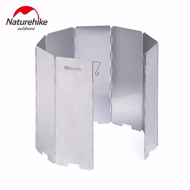 Вітрозахисний екран Naturehike з алюмінію для газового пальника на 10 секцій. Туристична вітрозахист.