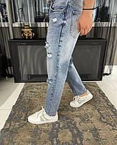 Мужские джинсы прямые МОМ синего цвета рваные, фото 3