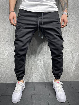 Чоловічі джинси-джоггеры чорного кольору, фото 2