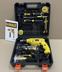 Дрель ударная DeWalt сетевая с набором инструментов в кейсе | Набор дрель+инструменты Девольт
