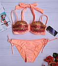 Купальник норма Анжелика Sisianna с паетками радуга персиковый, фото 4