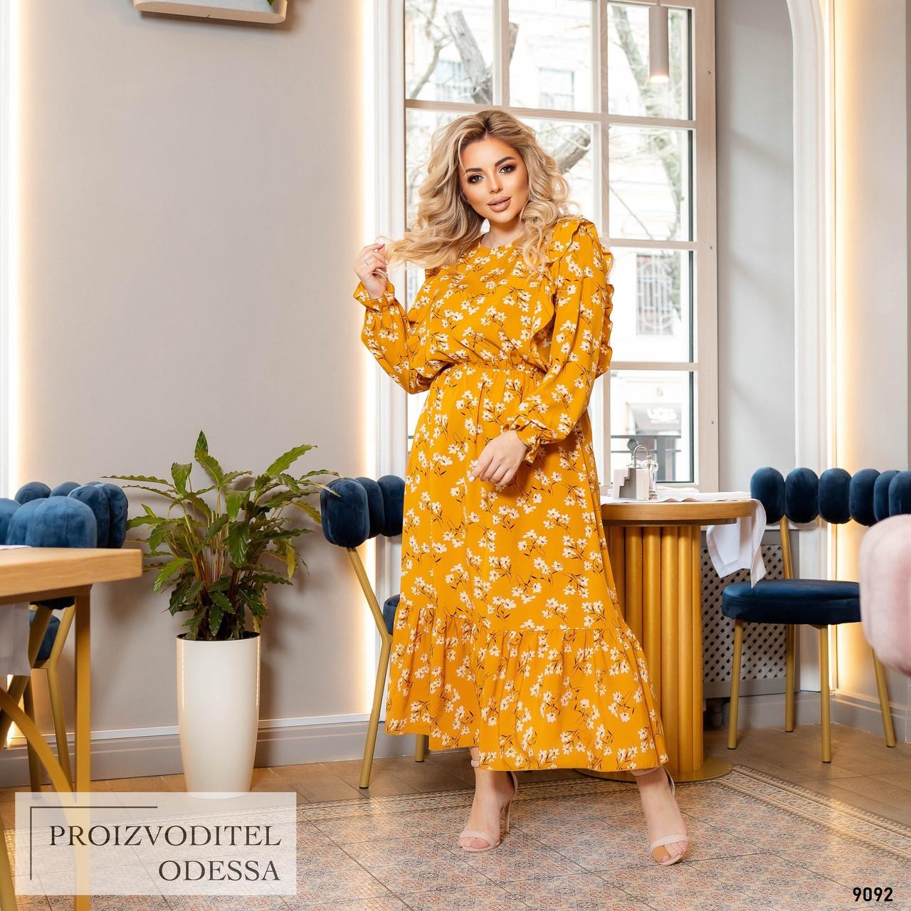Сукня Салоу довге літнє довгий рукав принт супер-софт 48,50,52,54