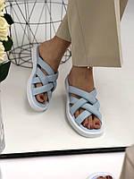 Шкіряні шльопанці блакитні з палітуркою на білій підошві, 36, 41 розміри, фото 1