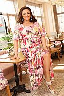 Женское длиное платье цветочный принт с коротким рукавом в больших размерах
