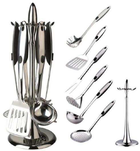 Кухонний набір з 7 предметів Maestro MR-1546   лопатка   вилка для м'яса   ополоник   шумівка   картофелемялка