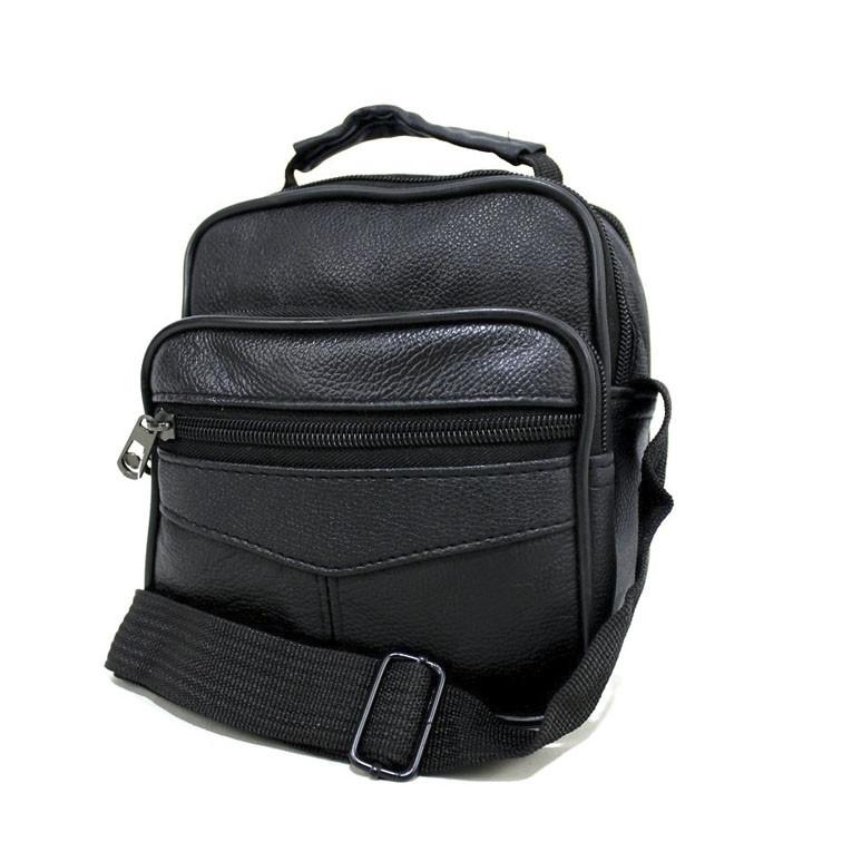 Удобная сумка через плечо для мужчин с накладным карманом из натуральной кожи черного цвета Размеры:17х16х6