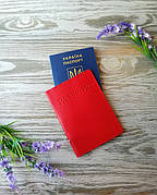 "Обложка на паспорт кожаная красная с тиснением ""Паспорт"" Украина ручная работа глянцевая"
